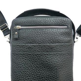 Мужская сумка на плечо из черной фактурной кожи