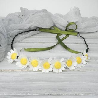Венок - ободок с ромашками, Обруч украинский, Ободок для девочки