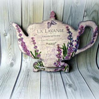 Вешалка для кухонных полотенец Лавандовый чайник.