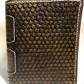 Кожаное портмоне, мужское портмоне с тиснением, коричневый кошелек