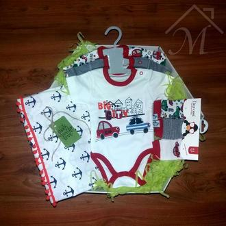Подарок новорожденному мальчику боди носочки плед baby shower gift box