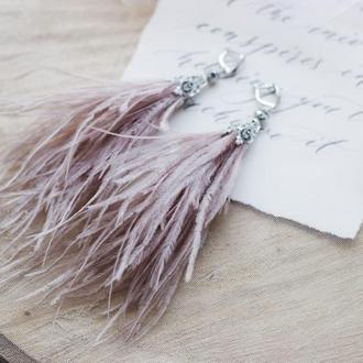 Серьги из перьев страуса