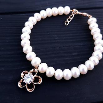 Браслет з натуральних перлів у позолоті браслет из жемчуга свадебный