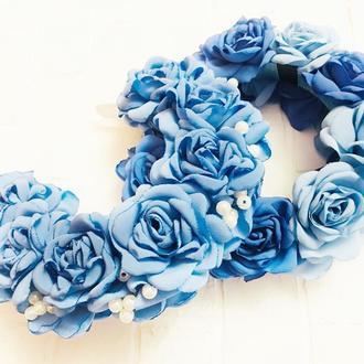 """Обруч для волос """"Розы голубые"""""""