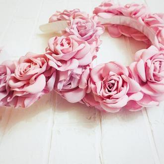 """Обруч для волос """"Розы розовые"""""""