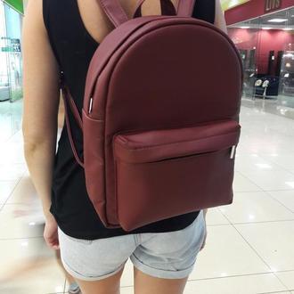 Модный вместительный женский рюкзак бордовый