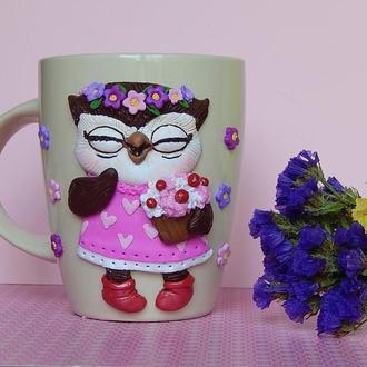 """Чашка """"Летняя совушка"""".Чашка с полимерной глиной.Кружка с декором  полимерной глиной Совушка."""