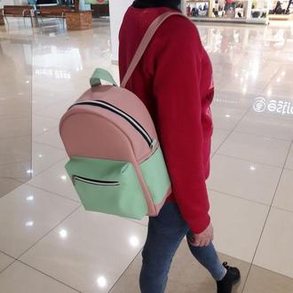 Модный женский рюкзак пудра с мятой