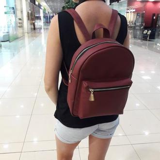 Эксклюзивный женский рюкзак бордовый