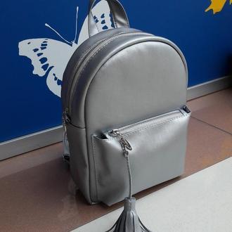 Красивый женский рюкзак серебро