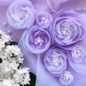 Набор цветов из шифона и органзы для украшения вечернего наряда и прически