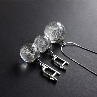 Комплект серебряных украшений с парашютиками одуванчика