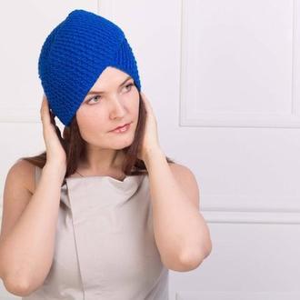 Шикарный вязаный тюрбан Шапка чалма насыщенного синего цвета
