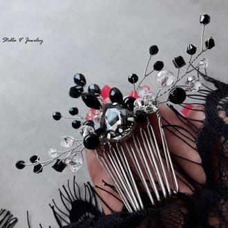 Гребень из чешского стекла в черном цвете и натурального черного агата
