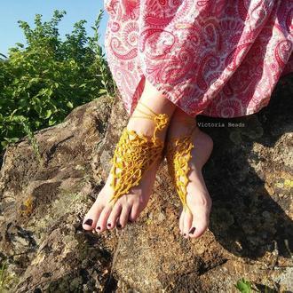Желтые ажурные босые сандалии. Летнее бохо украшение для ног