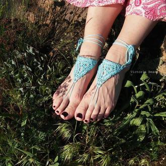 Голубое ажурное бохо украшение для ног. Свадебное украшение. Босые сандалии. Barefoot sandals