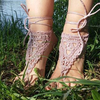 Пудровые розовые босые сандалии. Ажурное бохо украшение для ног для фотосессии. Barefoot Sandals