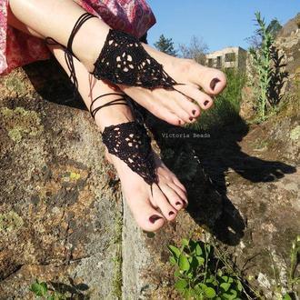 Черные элегантные ажурные бохо сандалии. Украшение для ног Barefoot Sandals для Open air фестиваля