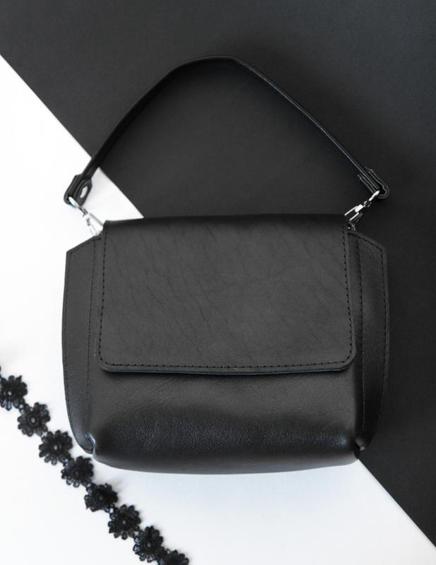 8f37894287a4 Стильная кожаная сумка через плечо (чёрная) ручной работы купить в ...