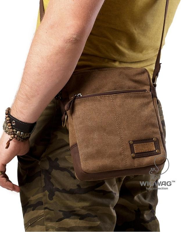 30a5e427a443 Мужская сумка небольшого размера из канваса и натуральной кожи ...