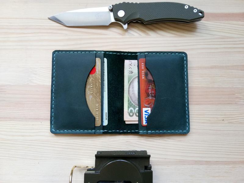 Картхолдер кошелек портмоне милитарист из зеленой кожи
