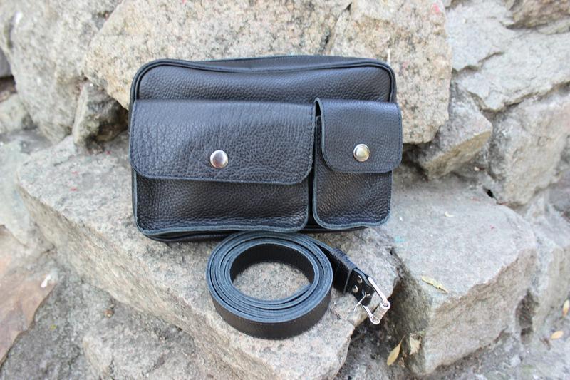 469ab03da694 Кожаная мужская сумка-барсетка на пояс | Черный Флотар ручной работы ...