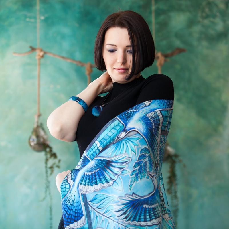Шелковый платок с птицами, Шовкова Хустка, Модный платок, Аксессуар, Шарф из натурального шелка