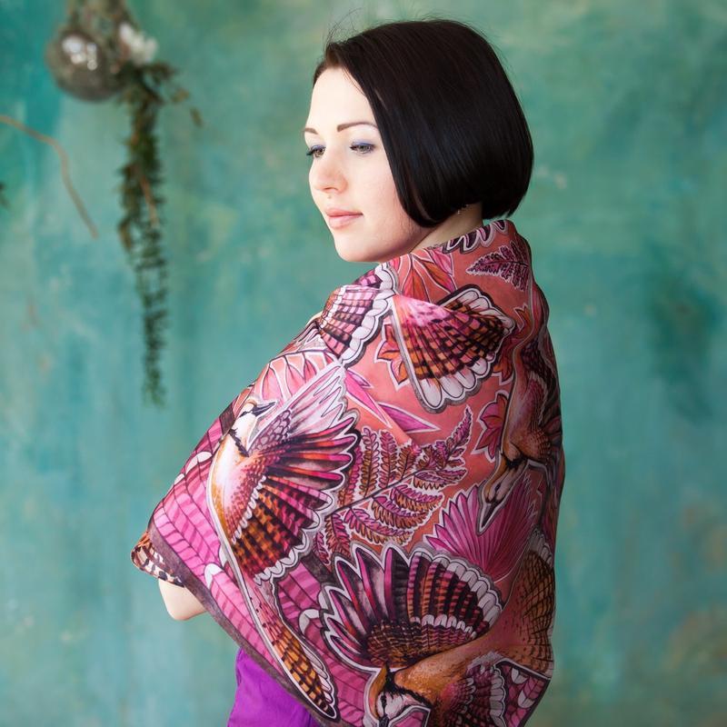 Красный шелковый платок с птицами, Модный платок, Атласный шарф, Большой платок, Шовкова хустка