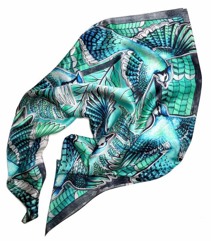 Зелений шовковий хустку з птахами, Бірюзовий хустку, Шовковий шарф, Модний хустку, Шовкова хустка