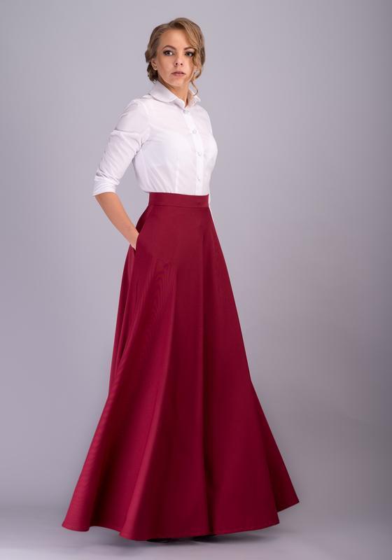9b36a0ee92c6 00021 юбка в пол бордовая ручной работы купить в Украине. №281201