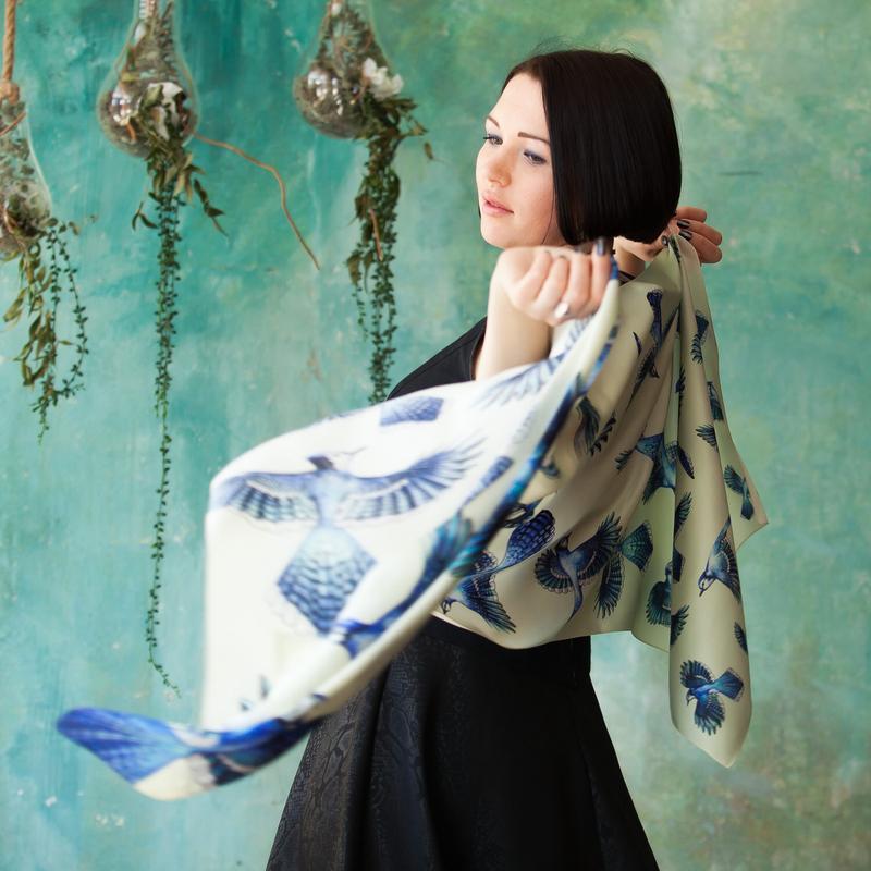 Шелковый шарф, Шарф цвета слоновой кости, Шарф молочный, Шарф с птицами, Голубые сойки, Шарфы платки
