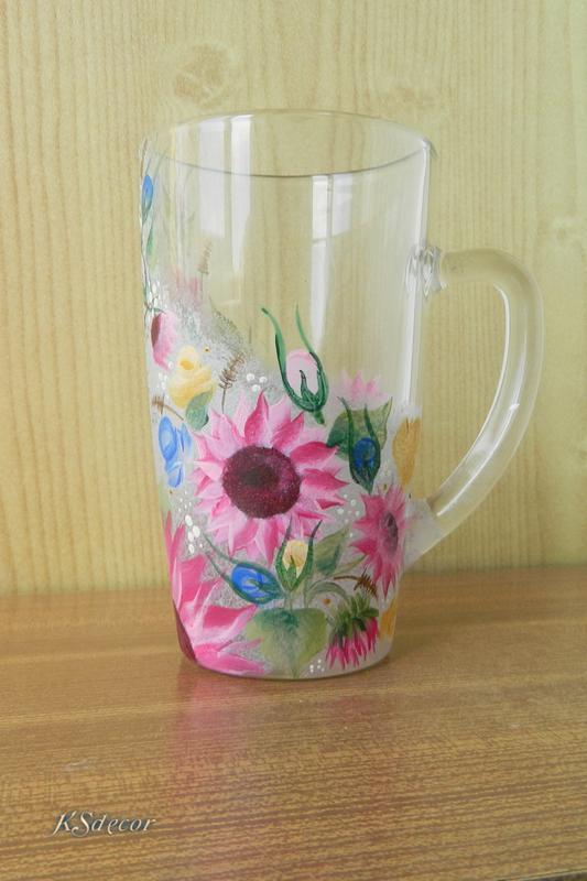 Кружка чашка стеклянная Розовые подсолнухи