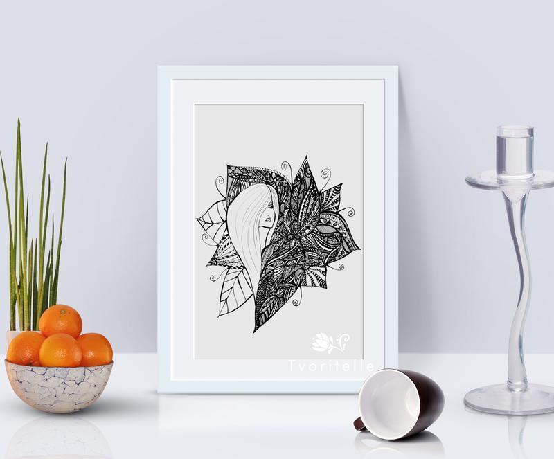 Иллюстрация Девушка и цветы