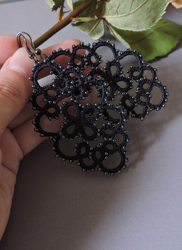 Черные кружевные серьги фриволите , длинные серьги