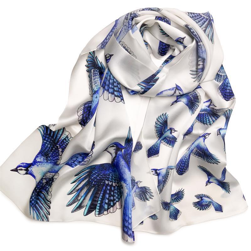 Шелковый палантин, Белый шарф с птицами, Женский шарф, Подарок маме, Атласный шелк, Шовк, Птахи