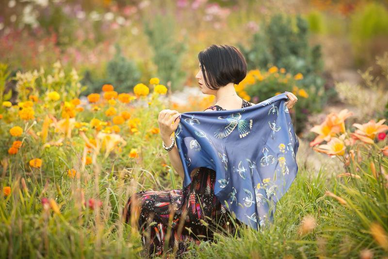 Синий платок, Женский шарф, Шелковый платок с птицами, Атласный шелк, Палантин, Шовк, Платки шарфы