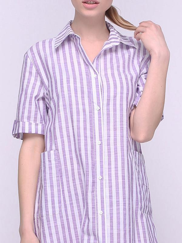 Платье-рубашка в фиолетовую полоску (XS)