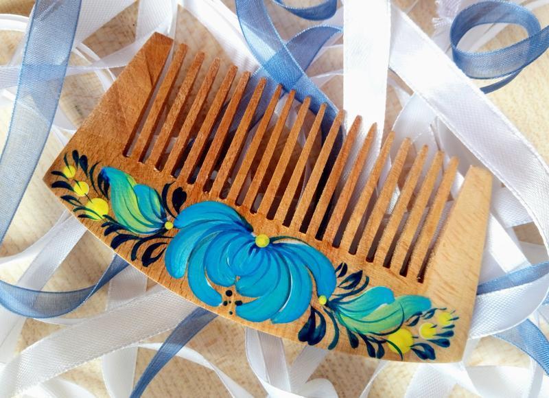 Деревянная расческа, гребень для волос ручная роспись Хризантема