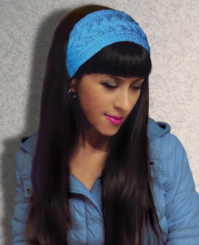 вязаная повязка на голову модно и стильно ручной работы купить в