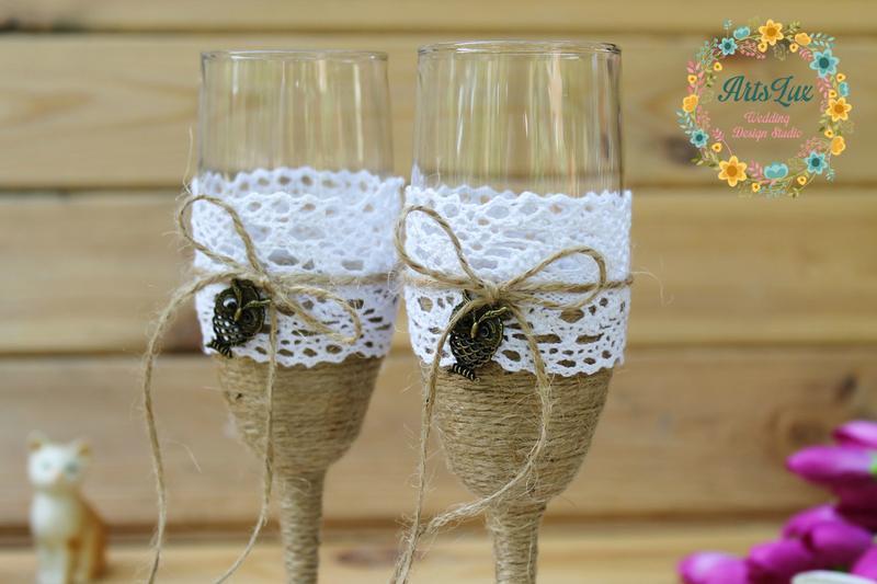 Свадебные бокалы в стиле рустик с Совами и кружевом