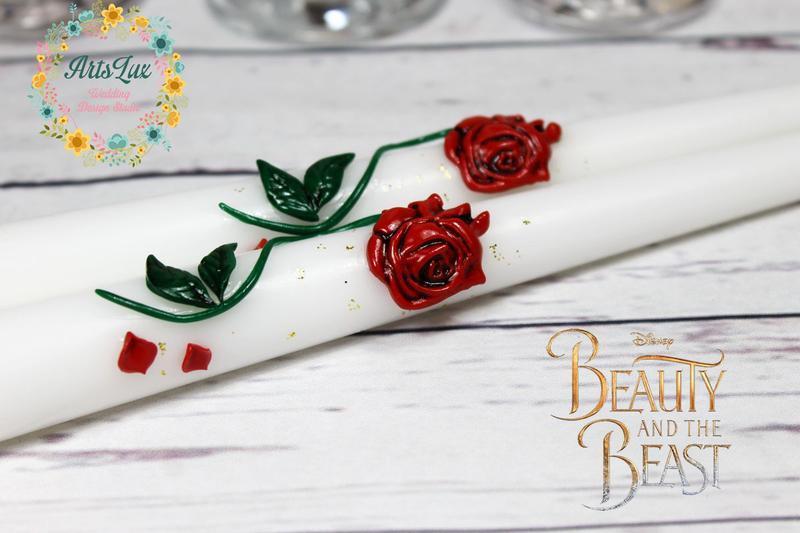 """Набор свадебных свечей Зачарованная Роза """"красавица и чудовище"""""""