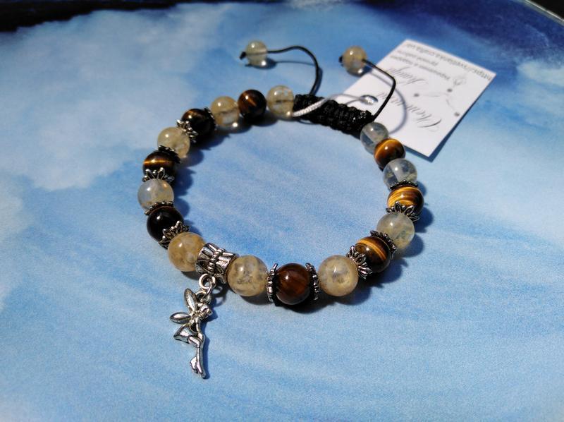 браслет шамбала из натуральных камней с подвеской эльф ручной