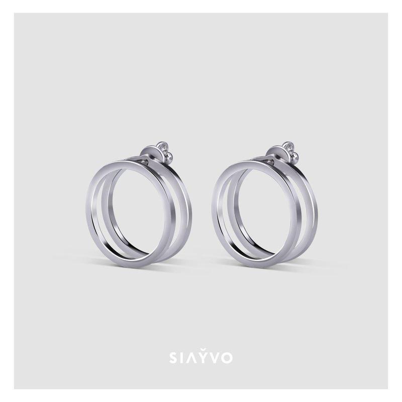 Серьги-джекети Двойное кольцо