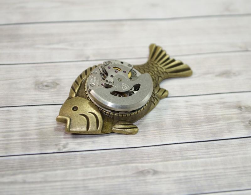 Брошка Риба в стилі Стімпанк Steampunk