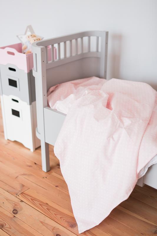 """Детское льняное постельное белье """"Розовый горошек"""""""