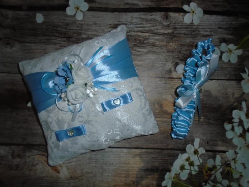 Набор подушечка для колец + подвязка