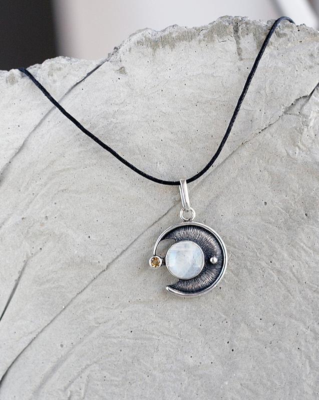 Подвеска с лунным камнем и цитрином