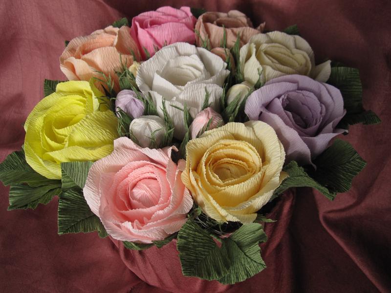 Английские розы из гофрированной бумаги.
