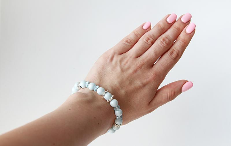 Женский голубой серебряный браслет из жемчуга Swarovski с топазами, свадебные украшения