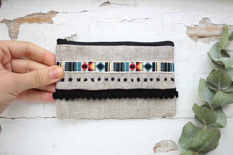 """Льняной кошелек с вышивкой """" Бохо"""", кошелек для мелочи, чехол для карточек"""